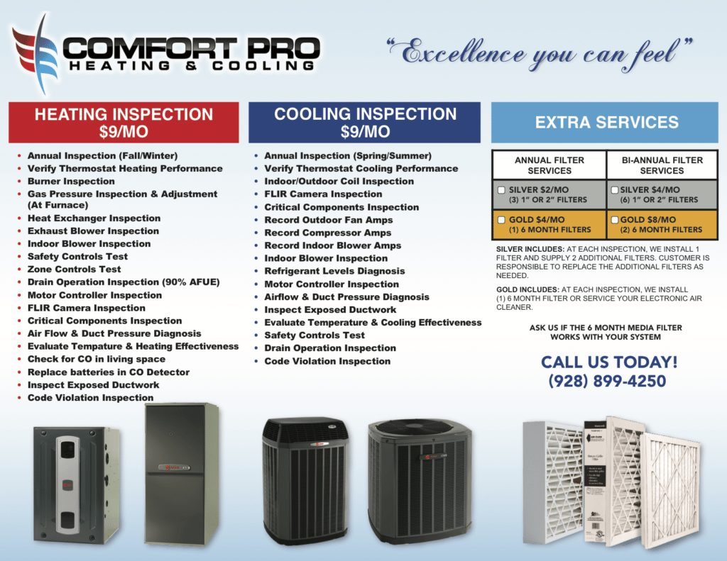 Comfort Pro list of heating and cooling inspection services