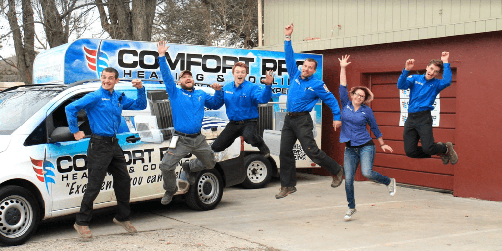 comfort pro heating and cooling team jumping